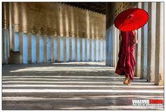 Hall way to Shwezigon Pagoda Bagan Myanmar. by VoravudSantiraveewan