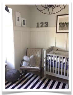 My Suite Bliss: Nursery Reveal! Behr Clay Beige 7750 walls, Trim SW white duck and crib is SW Dorian Gray 7017 Baby Boy Rooms, Baby Boy Nurseries, Football Nursery, Room Wall Colors, Nursery Inspiration, Nursery Ideas, Favorite Paint Colors, Retro Baby, Vintage Nursery