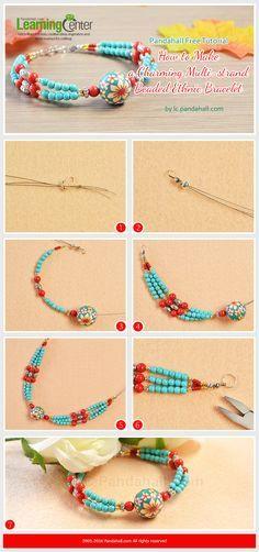 Pandahall Free Tutorial - How to Make a Charming Multi-strand Beaded Ethnic Bracelet from LC.Pandahall.com