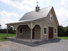 Barn Garage with Overhang