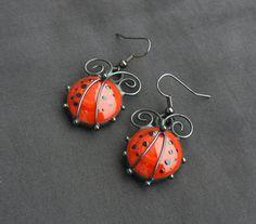 Ladybird Ladybug Drop Earrings Glass Earrings Red by SunMELODIES