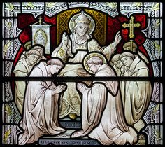 Today, 12 March, is the anniversary of the death of Pope St Gregory the Great, who died in 604. In some places his feast day is still celebrated today.    This stained glass window of the saint is from Downside Abbey church and shows him sending monks to evanglize England.