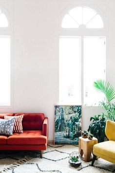 Feng Shui Living Room Decorating Tips white living room with red couch