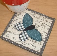 (7) Name: 'Quilting : Butterfly Patch Mug Rug
