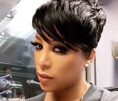 Michelle Gets Bashed On Social Media For Telling Her 'Love and Hip Hop: Hollywood' Co-Stars, Moniece Slaughter And Apryl Jones, This Quick Weave Hairstyles, Pixie Hairstyles, Pretty Hairstyles, Short Bangs, Short Hair Cuts, Apryl Jones, Short Quick Weave, Hair With Flair, Short Sassy Haircuts