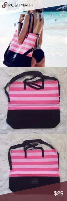 Victoria's Secret Tote Striped Pink Crossbody Bag This Victoria's Secret Tote is a versatile bag, perfect for the summer. Can be worn as a crossbody bag or a shoulder bag. This bag features 2 tone pink horizontal stripes and solid black bottom with Victoria's Secret emblem. This bag has never been used and us still in a protective bag. Victoria's Secret Bags Totes