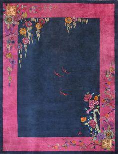 Chinese - Art Deco Circa: 1920 Color: Navy Origin: China Width: ( cm ) Length: ( cm ) RADR-Antique rug studio Stock Id: Art Deco Rugs, Art Deco Home, Berber, Chinese Art, Chinese Rugs, Magic Carpet, Fabric Painting, Painting Inspiration, Rugs On Carpet