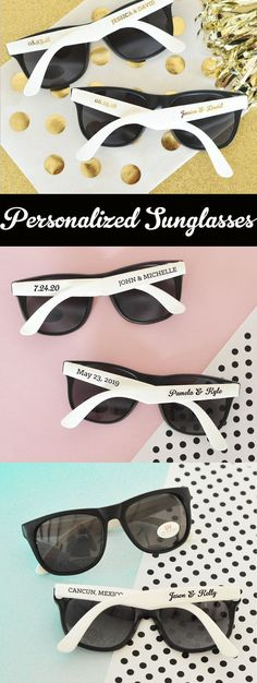 Beach Wedding Favors for your destination wedding guests! These personalized wedding sunglasses are a great idea for a tropical Hawaiian wedding or any