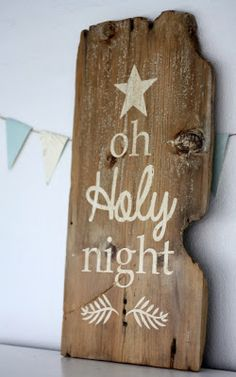 oh holy night hand painted holiday sign on barnwood