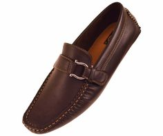 Amali Mens Brown Smooth Driving Shoe with Silver Ornament Style 1706-065 #Amali #DrivingMoccasins