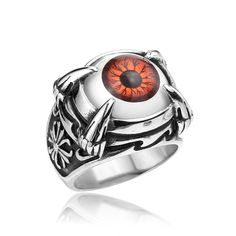 Punk Rock Stainless Steel Dragon Claw Evil Eye Eyeball Ring For Men