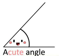 "A little image to help you remember Geometry rules - any angle less than 90 degress is a cute angle - you can remember it as ""a cute little angle."""
