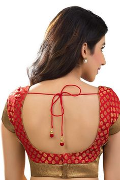 Blood #red & antique #gold banarasi brocade festive wear #blouse with sweetheart neck -BL742