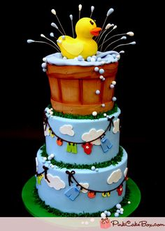 Rubber Ducky Baby Shower Cake by Pink Cake Box