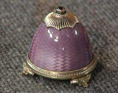 faberge translucent purple guilloche enamel, silver gilt trim bell push