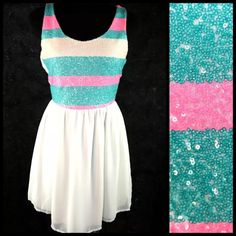 Aqua Blue Ivory Pink Sequin Stripe Skater Dress ‼️PRICE FIRM‼️   Size Large  OMG!!!  This is the cutest dress!!!  The top front is fully sequined with bright pink and a mix between aqua and teal.  Zips down the back.  Fully lined with a stretch fabric.  Lightweight and perfect for spring and summer!  100% polyester.  There is a fair amount of stretch to this dress for a perfect fit and ultimate comfort.  I also have other sizes and colors listed in my closet so please check it out.     Bust…