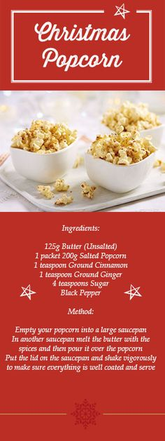 Is your #Christmas party in need of some popcorn? This #recipe adds a unique festive twist for you to try out at home!
