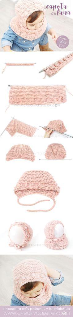 Capota de Bebé a Punto Bobo [ Tutorial y Patrón GRATIS ] - Knitting For Kids, Crochet For Kids, Diy Crochet, Baby Knitting, Yarn Projects, Knitting Projects, Crochet Projects, Knitting Stitches, Knitting Patterns