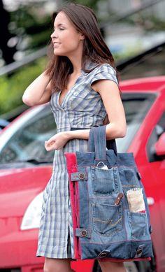 jean bag, denim tote, upcycled blue jeans bag