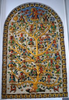 Mural done with Mayolica tiles entitled Arbol genealógico del comienzo del mestizaje (Genealogy tree of the beginning of the mestizo) by Gorky Gonzales Quiñones at the Museum of Artes Populares in Mexico City
