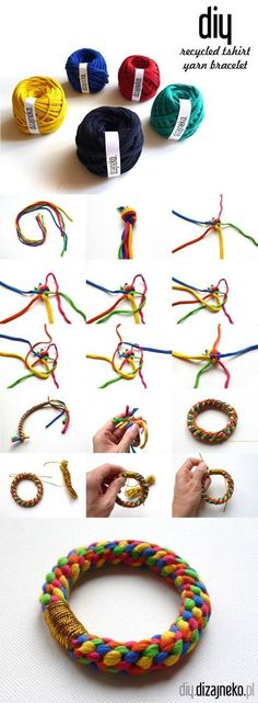 Recycled T-shirt yarn bracelet