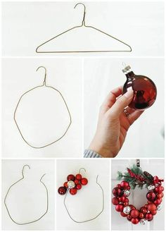 """I know what you're thinking: """"Oh great, another Christmas ornament wreath tutorial,"""" BUT my tutorial comes with a twist! I made my wreath one-handed. That's rig… xmas crafts How to Make a Christmas Ornament Wreath With a Wire Hanger Homemade Christmas Decorations, Christmas Wreaths To Make, Holiday Wreaths, Christmas Decorations For Bedroom, Christmas Decor Diy Cheap, Advent Wreaths, Winter Christmas, Christmas Holidays, Christmas Ideas"""
