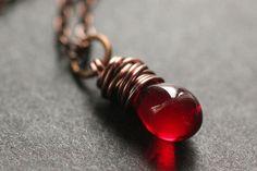 Red Teardrop Necklace in Copper. Solitaire Teardrop Necklace. Bridesmaid Necklace. Handmade Jewellery. by TheTeardropShop from The Teardrop Shop. Find it now at http://ift.tt/YIJMzm!