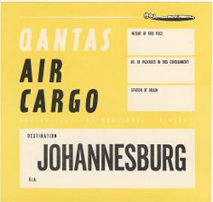 Vintage Qantas Air Cargo - Johannesburg travel label
