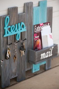 DIY: Key and Mail Organizer on Reclaimed Wood by lupe