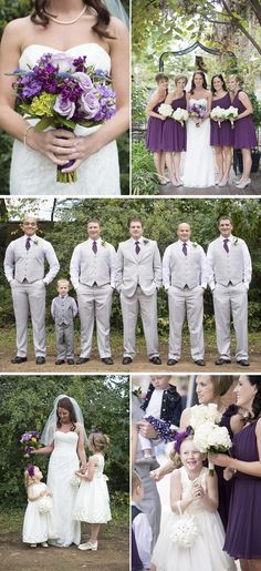 Grooms men in beige and purple