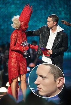 Eminem meeting Lady Gaga for the first time. Now that's genuine concern. Gosh I laughed so hard