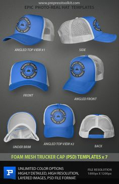 Foam Mesh Trucker Cap Photoshop Template - PSD