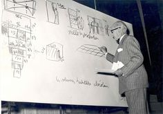 Le Corbusier Modulor explains the operation of the system at the conference IX Triennale in Milan 1951 Landscape Architecture, Architecture Design, Architecture Sketches, Ronchamp Le Corbusier, Biography, History, Modernism, Painters, Conference