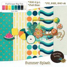 "July 2015:  Pixel Scrapper Blog Train ""Summer Splash""...Dhariana Scraps"
