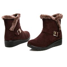 Women Winter Snow Boots Round Toe Flat Boots Cotton Ankle Boots - US$24.17
