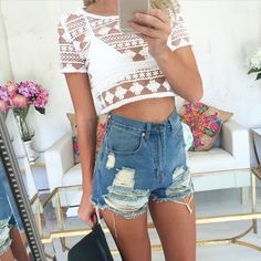 White Kenna Crop is the perfect mesh and embroidery combination!  #SaboSkirt.com