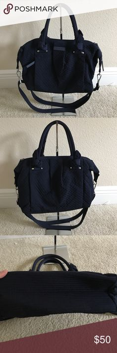 """Vera Bradley Microfiber Hadley Satchel Handbag Preown. One handle has lil fabric tear. Color classic navy Double handles, removable shoulder strap, top zipper closure, hidden zip pocket, silvertone hardware Back-wall zip pocket, two front-wall slip pockets Measures approximately 12""""W x 10""""H x 5-1/2""""D with a 7"""" handle drop and a 15"""" to 25"""" strap drop; weighs approximately 1 lb, 2 oz Facing 100% polyester; filling 100% polyurethane; lining 100% cotton Vera Bradley Bags Satchels"""