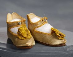 """What Finespun Threads"" - Antique Doll Costumes, 1840-1925 - March 12, 2017: 253 Aqua Satin Shoes For Bebe Jumeau with Gilt Lettering, Size 7"
