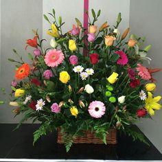 $1,500 Basket Flower Arrangements, Altar Flowers, Ikebana Flower Arrangement, Church Flowers, Funeral Flowers, Silk Flowers, Spring Flowers, Floral Arrangements, Memorial Flowers