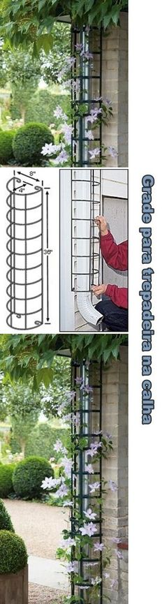 Hide the downspout with a trellis. Hide your rain spout by transforming into a decorative climbing support for your favorite flowering climbing vine. I really like this idea and it looks great too. YOUR GARDEN ART PROJECT IS WAITING FOR YOU.