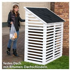 Hide Trash Cans, Outdoor Trash Cans, Bike Storage, Storage Bins, Diy Wood Projects, Outdoor Projects, Backyard Landscaping, Pergola Patio, Bin Shed