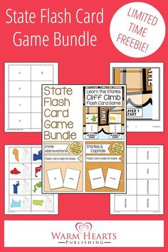 Help your children learn the States, State Capitals, and State Abbreviations with this fun game bundle! {FREE for a limited time! Geography Lesson Plans, Teaching Geography, Free Homeschool Curriculum, Worksheets For Kids, Free Printables, Unit Studies, Special Deals, Kindergarten Activities, Education