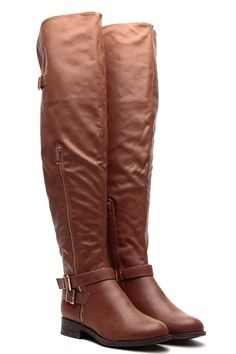Chestnut Faux Leather Over the Knee Buckle Up Riding Boots @ Cicihot Boots Catalog:women's winter boots,leather thigh high boots,black platform knee high boots,over the knee boots,Go Go boots,cowgirl boots,gladiator boots,womens dress boots,skirt boots.