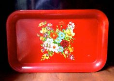 Toleware red metal tray that mom used to serve drinks. Vintage Tins, Vintage Table, Vintage Metal, Vintage Decor, Metal Trays, Summer Flowers, Floral Motif, Shabby Chic Decor, Vintage Inspired