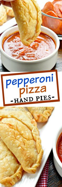 Pepperoni Pizza Hand Pies Flaky pie crust filled with pepperoni and cheese. These baked Pepperoni Pizza Hand Pies are ready in minutes and make a great meal! Pie Recipes, Dessert Recipes, Cooking Recipes, Skillet Recipes, Pillsbury Pie Crust Recipes, Cooking Gadgets, Desserts, Cooking Tools, Recipes Dinner
