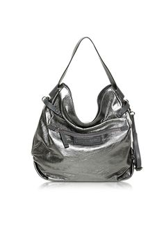 Francesco+Biasia+Storm+Laminated+Leather+Shoulder+BagStorm  Laminated Leather Shoulder Bag crafted in metallic laminated calfskin leather with contrasting leather detail for a modern glam look that goes seamlessly from day to night. Featuring single strap, top zip closure, outer front tab zip pocket, leather strap and stud detail on gusseted sides and gold/silver tone metal detail. Signature dust bag included. Made in Italy.
