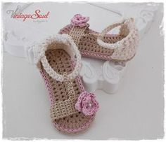 These are crochet baby girl summer sandals ...The type of yarn which has been used is 100% cotton..  Ideal for Spring\Summer and perfect for babies sensitive skin!!!   Full handwork  I make each item by hand in my smoke free - pet free place   You can always see our latest updates and chat with me at my facebook page : https://www.facebook.com/vintagesoulknitsandcrafts   Please feel free to message me with any questions at all!  These booties are available in five different siz...