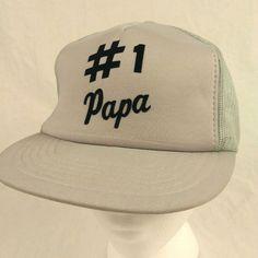 Vtg Number 1 Papa Gray Black Trucker Hat Baseball Cap Mesh Snapback NOS #Yupoong #TruckerHat