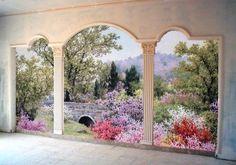 Trompe l'oeil garden scene
