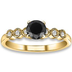 0.59 ctw 14k YG A Black, Accent G-H Color, I1 Clarity Diamonds Engagement Ring